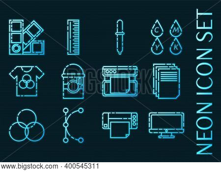 Polygraphy Set Icons. Blue Glowing Neon Style