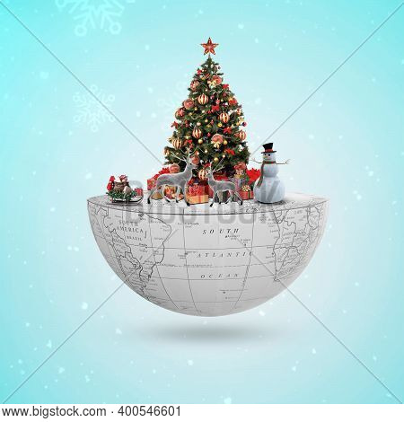 Merry Christmas And Happy New Year. Realistic Pile Gifts Boxes. Open Gift Box Full With Santa Claus