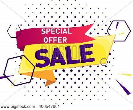 Vector Banner. Mega Sale, -50% Off, Limited Special Offer. Super, Mega Deal. Template, Modern Label