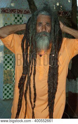 Gujarat, India-february 2, 2010: Sadhu With The Loose Hair.
