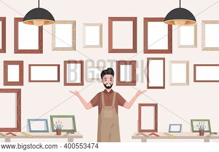 Young Smiling Man In Apron Selling Frames For Paintings Vector Flat Illustration. Art Store, Creativ
