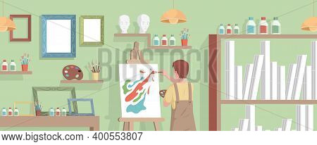 Young Artist Drawing Abstract Picture On Canvas In Art Studio Vector Flat Illustration. Boy Drawing