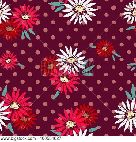 Daisy Flower Polka Dots Hand Drawn Seamless Vector Pattern. Cute Polka Floral Endless Backdrop Backg