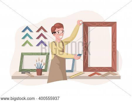Young Smiling Man In Safety Glasses Measuring Size Of A Picture Frame Vector Flat Illustration. Art