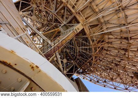 The Metal Construction Of The Big Dish Telescope At Carnarvon Space And Technology Museum In Western