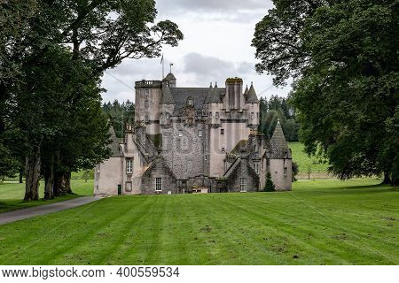 Inverurie, Scotland - August 10, 2019: The Rear Side Of Ancient Castle Fraser In Sauchen, Inverurie,