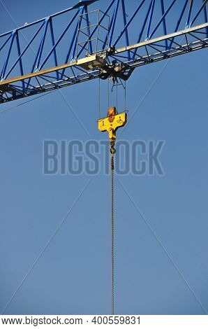 Steel Hoisting Construction Mechanics Crane Background Blue Sky