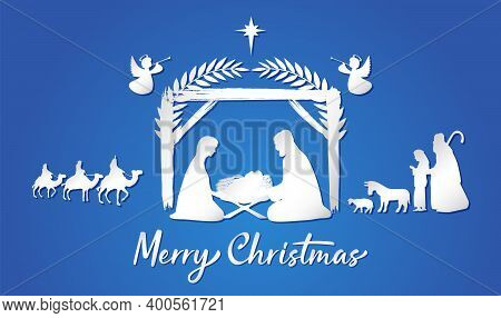 Christmas Scene Of Baby Jesus In The Manger. Mary And Joseph Silhouettes, Bethlehem Star, Angels. Th