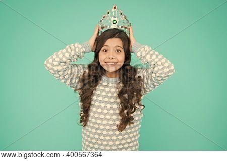 Shine Like Diamond. Happy Girl Wear Crown Blue Background. Little Miss Got Pageant Crown. Beauty Que