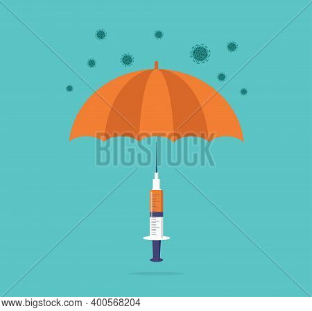 Vaccination Concept Design. Time To Vaccinate Banner. Umbrella-shaped Syringe With Vaccine For Covid