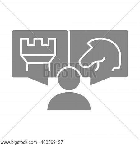Human With Knight And Rook Chess In Speech Bubbles Gray Icon. Board Game, Table Entertainment Symbol