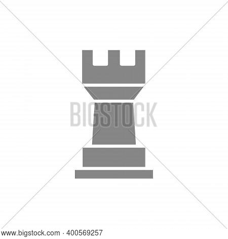 Rook Chess Gray Icon. Board Game, Table Entertainment Symbol
