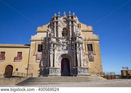 Caravaca, Mercia, Spain - November 17, 2017: View Of The Main Facade Of The Basilica Of Santisima Ve
