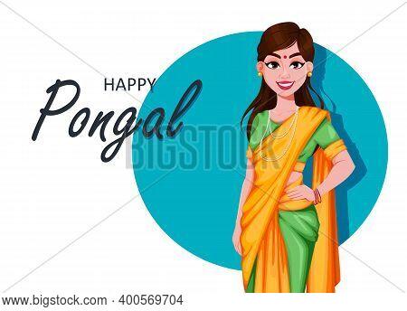 Happy Pongal Greeting Card With Beautiful Indian Girl. Makar Sankranti. Stock Vector Illustration