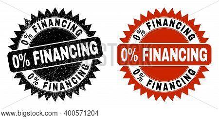 Black Rosette 0 Percent Financing Seal Stamp. Flat Vector Distress Seal Stamp With 0 Percent Financi
