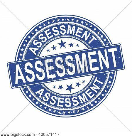 Assessment Stamp. Red Round Assessment Grunge Vintage Stamp. Assessment