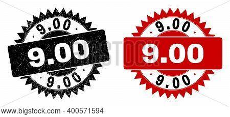 Black Rosette 9.00 Watermark. Flat Vector Distress Watermark With 9.00 Caption Inside Sharp Rosette,
