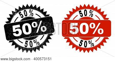 Black Rosette 50 Percent Seal Stamp. Flat Vector Distress Seal Stamp With 50 Percent Text Inside Sha