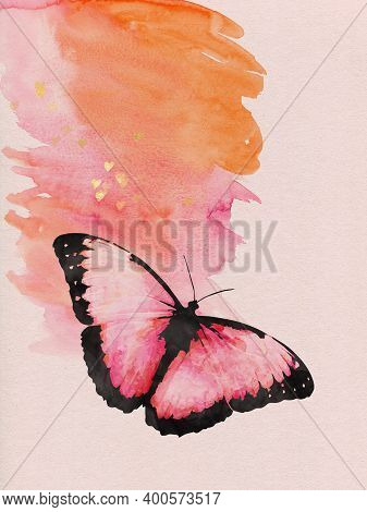 Watercolor Image Of A Butterfly Doodle On A Vintage Background. Butterfly Close-up. Handmade Illustr