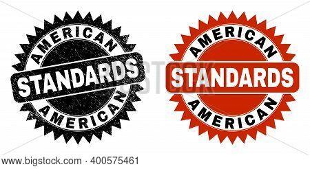 Black Rosette American Standards Seal Stamp. Flat Vector Scratched Seal Stamp With American Standard