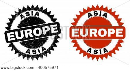 Black Rosette Asia Europe Stamp. Flat Vector Textured Seal Stamp With Asia Europe Title Inside Sharp