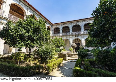 Arouca, Portugal - September 08, 2019: View Of The Neoclassical Cloister Of The Monastery Of Saint M