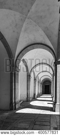 Arouca, Portugal - September 08, 2019: View In Black And White Of The Cloister Of The Monastery Of S