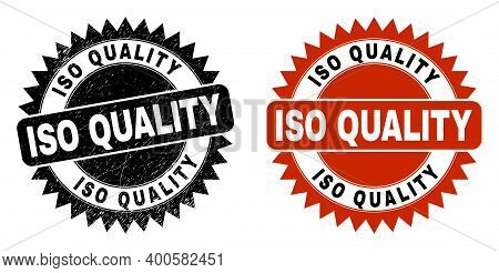 Black Rosette Iso Quality Seal. Flat Vector Distress Seal With Iso Quality Caption Inside Sharp Rose