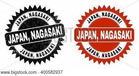 Black Rosette Japan, Nagasaki Seal. Flat Vector Distress Seal Stamp With Japan, Nagasaki Title Insid