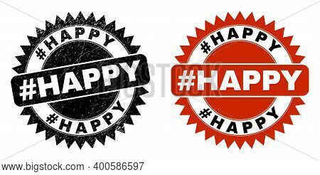 Black Rosette Hashtag Happy Seal Stamp. Flat Vector Textured Stamp With Hashtag Happy Message Inside