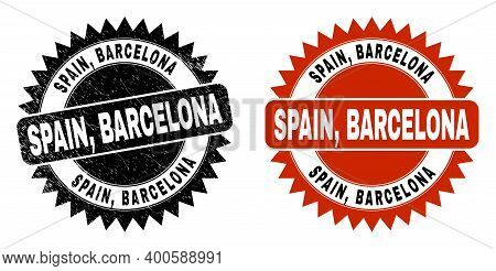 Black Rosette Spain, Barcelona Seal Stamp. Flat Vector Textured Seal Stamp With Spain, Barcelona Mes
