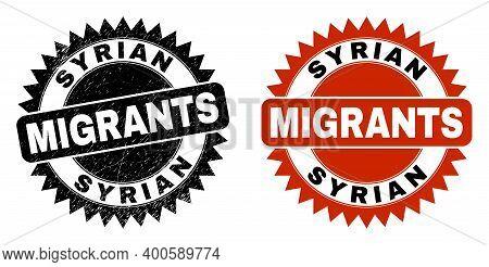 Black Rosette Syrian Migrants Seal Stamp. Flat Vector Distress Seal Stamp With Syrian Migrants Messa