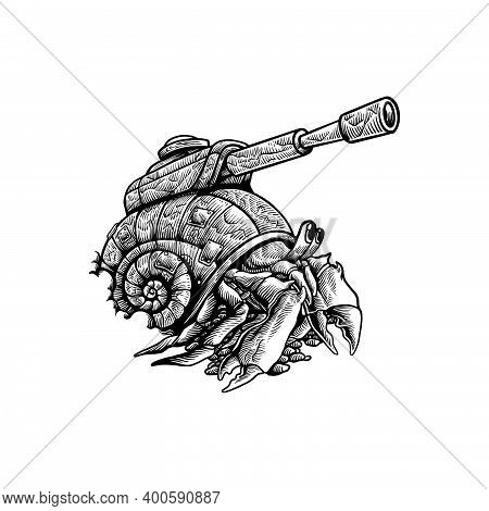 Handdrawn Hermit Crab Silhouette Clipart  For Your Work Logo Merchandise T-shirt, Stickers And Label