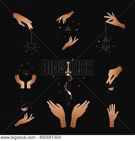Set Of Female Hands. Witch Magic And Occult Collection. Different Vector Hand Gestures With Sword, S