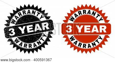 Black Rosette Warranty 3 Year Seal. Flat Vector Textured Watermark With Warranty 3 Year Message Insi