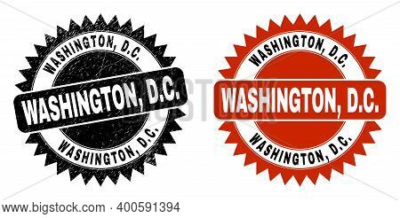 Black Rosette Washington, D.c. Stamp. Flat Vector Scratched Stamp With Washington, D.c. Phrase Insid
