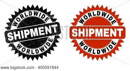 Black Rosette Worldwide Shipment Watermark. Flat Vector Textured Seal Stamp With Worldwide Shipment