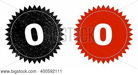 Black Rosette 0 Seal Stamp. Flat Vector Grunge Seal Stamp With 0 Phrase Inside Sharp Rosette, And Or