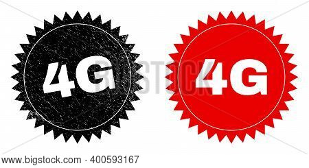 Black Rosette 4g Seal Stamp. Flat Vector Grunge Seal Stamp With 4g Title Inside Sharp Rosette, And O