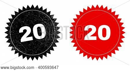 Black Rosette 20 Seal. Flat Vector Distress Seal Stamp With 20 Phrase Inside Sharp Rosette, And Orig