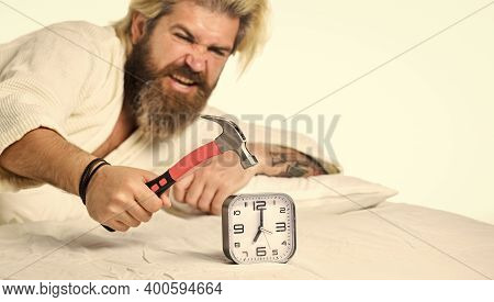 Need Relax. Bearded Man Hipster Want Sleep. Stages Of Sleep. Man Awake Unhappy With Alarm Clock Ring