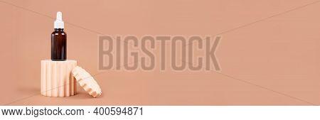Banner, Mockup Dropper Bottle Of Natural Organic Oil - Hyaluronic Acid, Serum, Moisturizer Or Facial