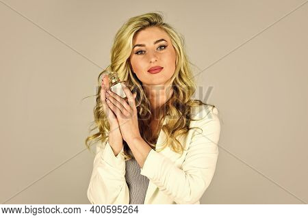 Perfume Created For Daring Person. Attractive Woman Hold Perfume Bottle. Favorite Fragrance. Female