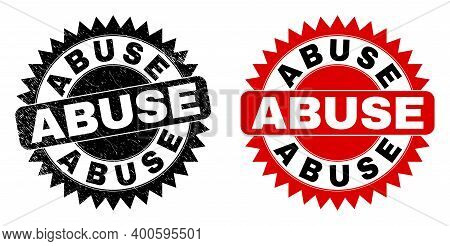 Black Rosette Abuse Seal Stamp. Flat Vector Scratched Watermark With Abuse Message Inside Sharp Rose