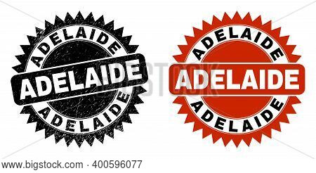 Black Rosette Adelaide Seal Stamp. Flat Vector Textured Seal Stamp With Adelaide Message Inside Shar