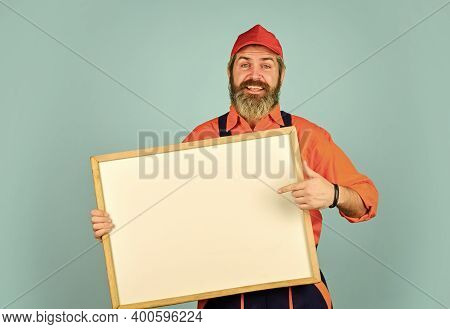 Services We Offer. Housekeeping Company. Mechanic Perform Technical Work. Man Worker Hold Chalkboard
