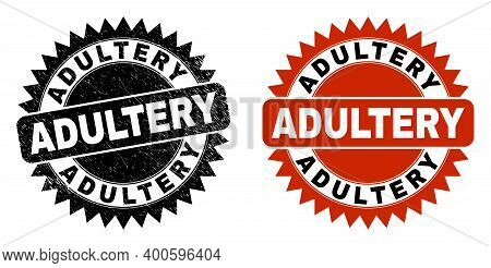 Black Rosette Adultery Seal Stamp. Flat Vector Textured Seal Stamp With Adultery Phrase Inside Sharp