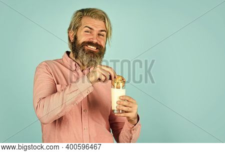 Taste Of Childhood. Bearded Man Drink Milk With Cookies. Yummy Combination. Happy Hipster Eat Cookie