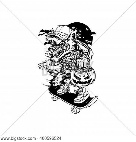 Silhouette Skater Wolf Clipart  For Your Work Logo Merchandise T-shirt, Stickers And Label, Poster,
