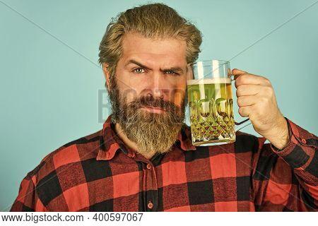 True Sensation. Get Drunk. Alcoholic. Thirsty Man Drinking Beer In Pub Bar. Hipster Drink Beer. Matu